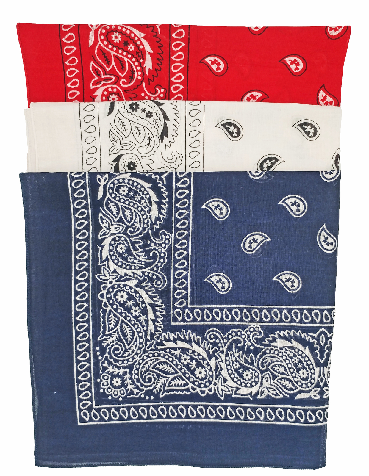 RED WHITE BLUE BANDANNAS Pack of 3 100% cotton in Patriotic American Flag Colors