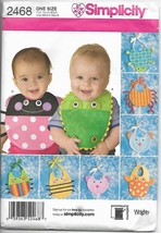 Simplicity 2468 Baby Bibs 8 Designs Dog Cat Fish Crab Turtle Bugs O/S Ne... - $2.77