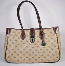 Dooney & Bourke Womens Double Signature Tote Shoulder Bag Brown Leather Trim   - $99.00
