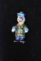 Rare Alice Caviness Sterling Silver Enamel Clown Brooch - $118.80