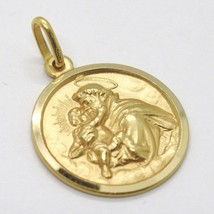 18K YELLOW GOLD ST SAINT ANTHONY PADUA SANT ANTONIO MEDAL MADE IN ITALY, 17 MM image 1