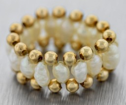 Beautiful Vintage Yellow Gold Baroque Pearl Beaded Ring Size:6.5 - $140.14