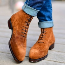 New Men Handmade Tan Suede Leather Ankle High Custom Made Dress Boots - $179.99 - $199.99