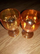 Vintage Marigold Carnival Glass Iridescent Water Goblets 4 Pointed Star ... - $33.66