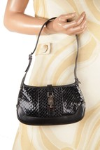 Authentic GUCCI Black Snakeskin Leather SMALL SHOULDER BAG Tote HOBO Han... - $232.65