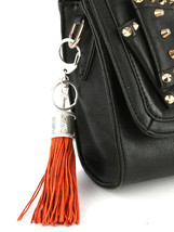 Tassel Key Chain Handbag Charm Accessory Key Fob Claw Hook Silvertone Peach image 2