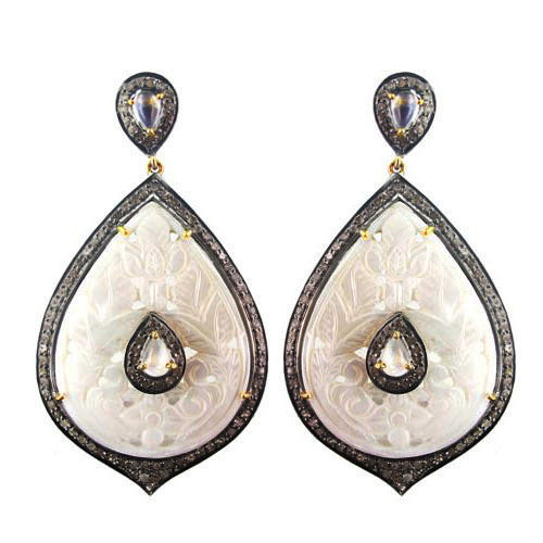 Primary image for MOP Carved Gemstone 14k Gold Studded 3ct Diamond Dangle Drop Earrings 925 Silver
