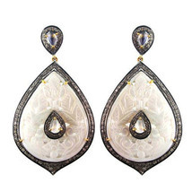 MOP Carved Gemstone 14k Gold Studded 3ct Diamond Dangle Drop Earrings 92... - €776,31 EUR