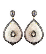MOP Carved Gemstone 14k Gold Studded 3ct Diamond Dangle Drop Earrings 92... - $943.30