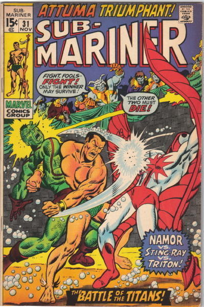 Primary image for The Sub-Mariner Comic Book #31 Marvel Comics 1970 VERY FINE-