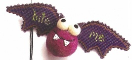Purple Bat Kit Crazy halloween ornament cross stitch kit  Val's Stuff    - $16.20
