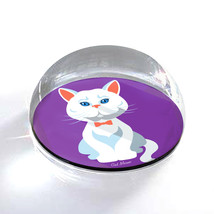 """White Cartoon Cat Illustration Art Gift 2"""" Crystal Dome Magnet or Paperw... - $15.99"""