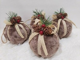 Woodland Christmas Furry Burlap Ball Holly Berries Ornaments Set of 4 - $25.99