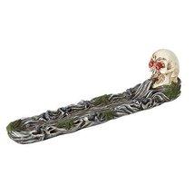 11.75 Inch Pot Leaf Skeleton Skull Incense Burner Statue Figurine - $20.58