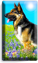 Adult German Shepherd Dog Flower Field Light Single Switch Wall Cover Room Decor - $8.97