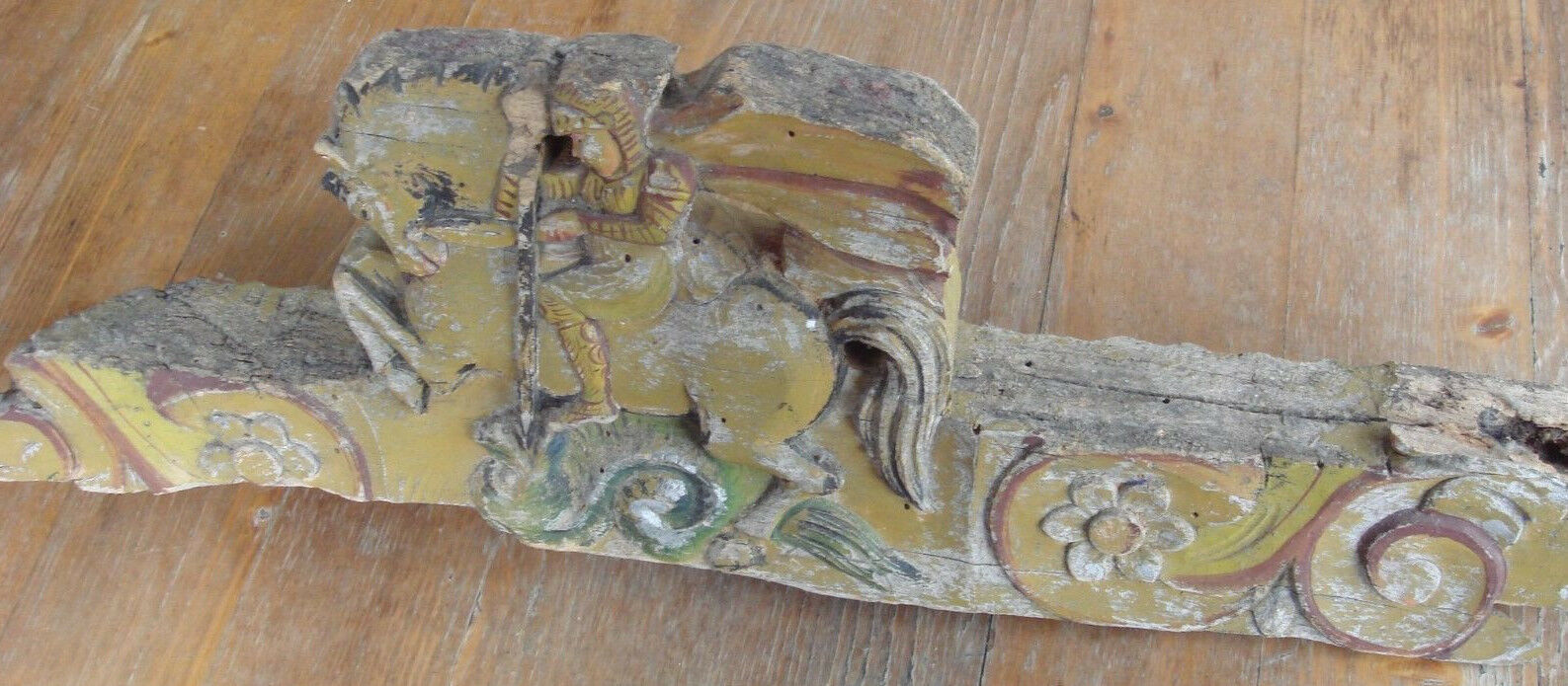 "Antique 200 years old ""fronton"" wood carved Georges Dragon church décor image 3"