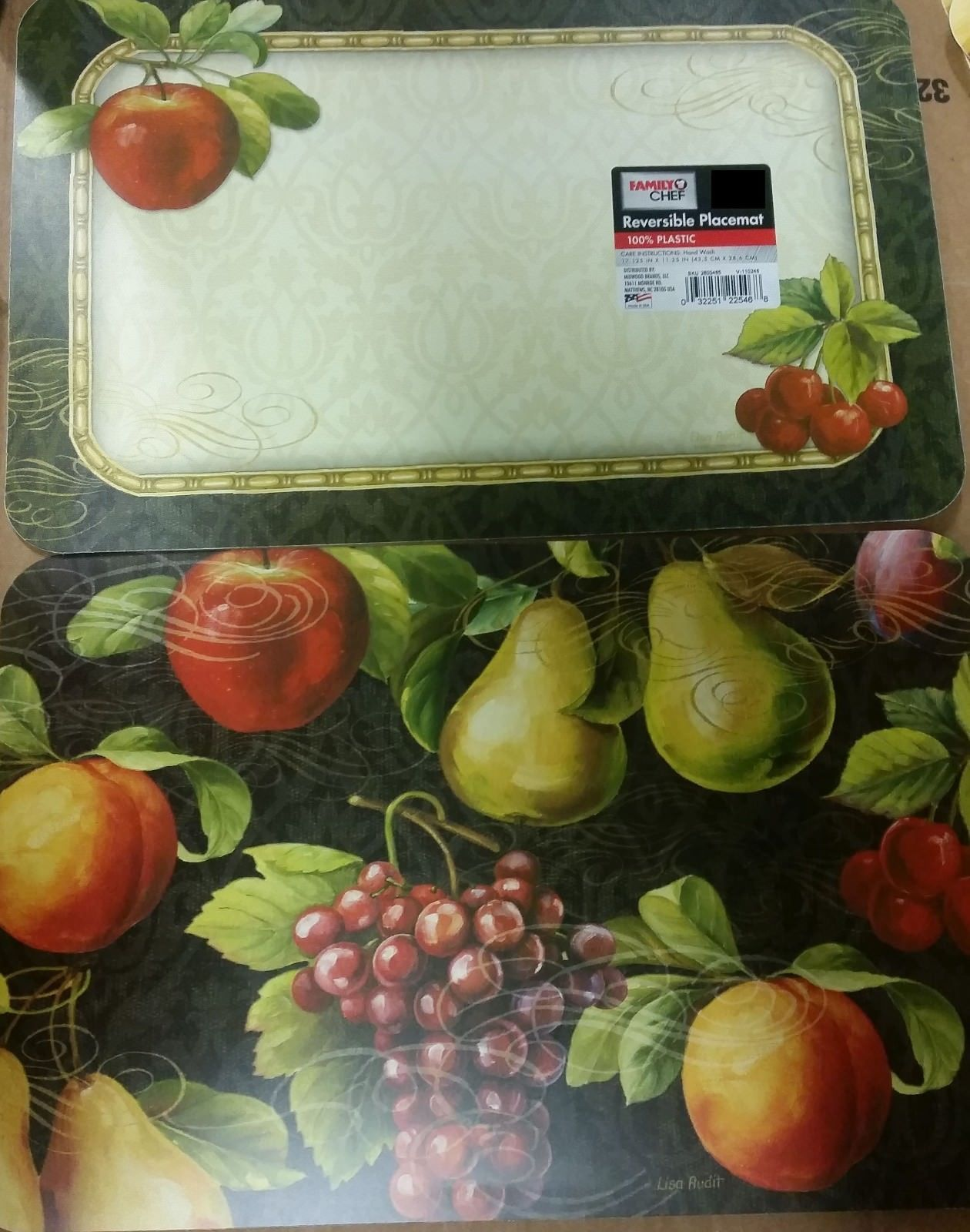 """Set of 4 REVERSIBLE NON CLEAR HARD PLACEMATS 12"""" x 18"""", FRUITS by Family Chef - $15.83"""