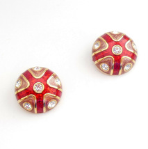 Joan Rivers Red Button Clip on Earrings Jewelry Red Sparkly Enamel Clear... - $24.95