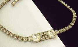 Vintage SPARKLING Clear Rhinestone Choker Necklace Emerald Round Cut PRO... - $16.82