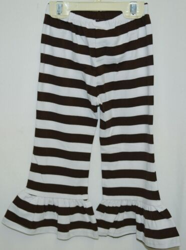 Blanks Boutique Girls Brown White Stripe Ruffle Pants Size 2T