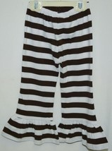 Blanks Boutique Girls Brown White Stripe Ruffle Pants Size 2T image 1