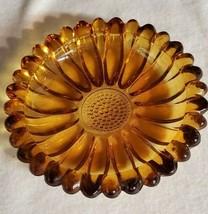 """Vintage Hazel Atlas Ashtray Amber Glass Sunflower Flower Design 5.5"""" - $21.49"""