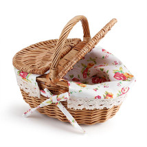 Picnic Basket Wicker Brown Belly Camping Shopping Wooden Handle Hamper S... - $346,29 MXN