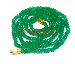 "Natural Green Onyx 3-4mm Rondelle Faceted Beads 34"" Long Beaded Necklace - $25.70"