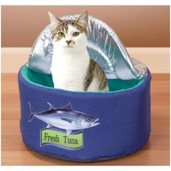 Tuna Can Cat Bed, w/Lid ~ Soft Cuddly & Cute Kitty Playhouse ~ Bandwagon #L7190