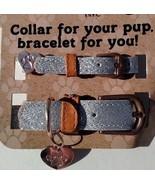 Silver Glitter Dog Collar & Matching Friendship Bracelet w Charm Set XS/... - $4.99