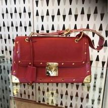 Auth Louis Vuitton 2007 Hand Bag Red Medium Leather Metal Flap LVB0189 - $2,481.93