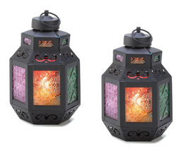 Two (2) wrought iron moroccan marketplace multicolor glass candleholder ... - $19.00