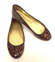 J. CREW Size 6 Leopard Print Patent Leather Ballet Flats Shoes - $54.00
