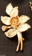 Avon Burnished Rose Pin Floral Leaf Figural Brooch Rose Gold Plated ✿ VTG 1970s  - $19.76