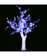 5 Ft LED Christmas New year party Crystal Cherry Tree white Leaf blue fl... - $345.00