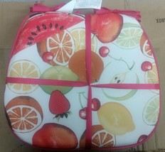 """Set of 4 KITCHEN CHAIR PADS CUSHIONS w/ pink strings,COLORFUL FRUITS 15""""... - $19.79"""
