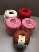Lot of 4 Partial Spools COTTON Crochet YARN Pink Red White 1 Full Burnt ... - ₹1,418.36 INR