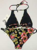 Volcom 2 PC Swimsuit Wild Buds Halter Top & Bottom Sz S/M image 4