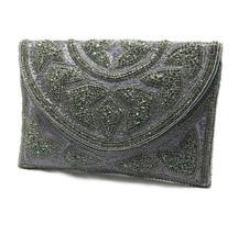 Bridal Clutch, Gunmetal Wedding Clutch, Evening Bag, Pewter Beaded Clutc... - $112.64