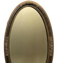 "Wall Mirror Wood Oval 31"" X 17"" Vtg Tiger Stripe Gesso Floral Deco Nouveau - $118.79"