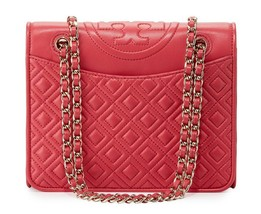 Tory Burch Fleming Shoulder Bag Medium Quilted Leather Dark Peony - $307.40