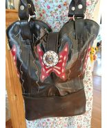 Dingo Boot Shoes Satchel Black Leather Butterfly Shoulder Bag Purse Handbag Tote - £18.06 GBP