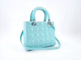Authentic Christian Dior Lady Dior Medium Tiffany Blue Patent Cannage Tote Bag