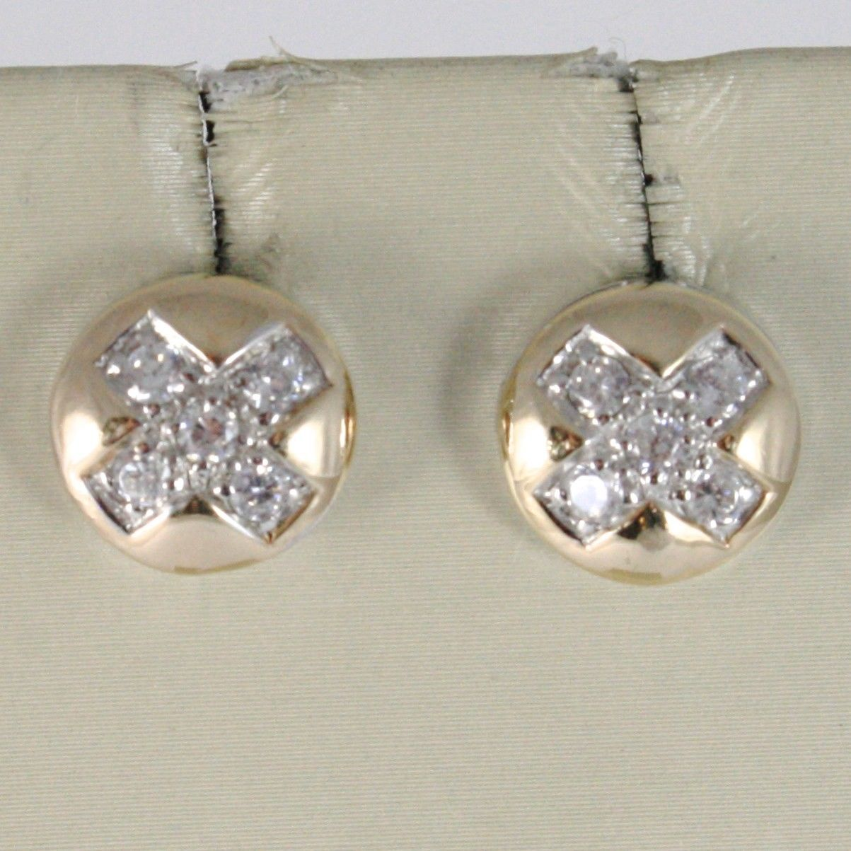 SOLID 925 STERLING ROSE SILVER EARRINGS BUTTON WITH CUBIC ZIRCONIA ROUND CUT