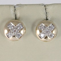 SOLID 925 STERLING ROSE SILVER EARRINGS BUTTON WITH CUBIC ZIRCONIA ROUND CUT image 1
