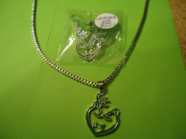 GREEN DEER FAMILY NECKLACE & MATCHING EARRINGS  >> COMBINED SHIPPING  - $6.88
