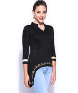 Ira Soleil black printed viscose knitted stretchable 3 4 sleeves womens ... - $49.99