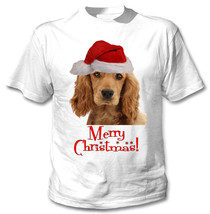 Merry Christmas Spaniel Santa - New White Cotton Tshirt - $18.31