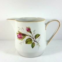 """Hutschenreuther Moss Rose Creamer 3-1/8"""" White Pink Roses - $11.88"""