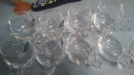 Shannon Crystal punch bowl glasses 8 of them clear glass - $8.95